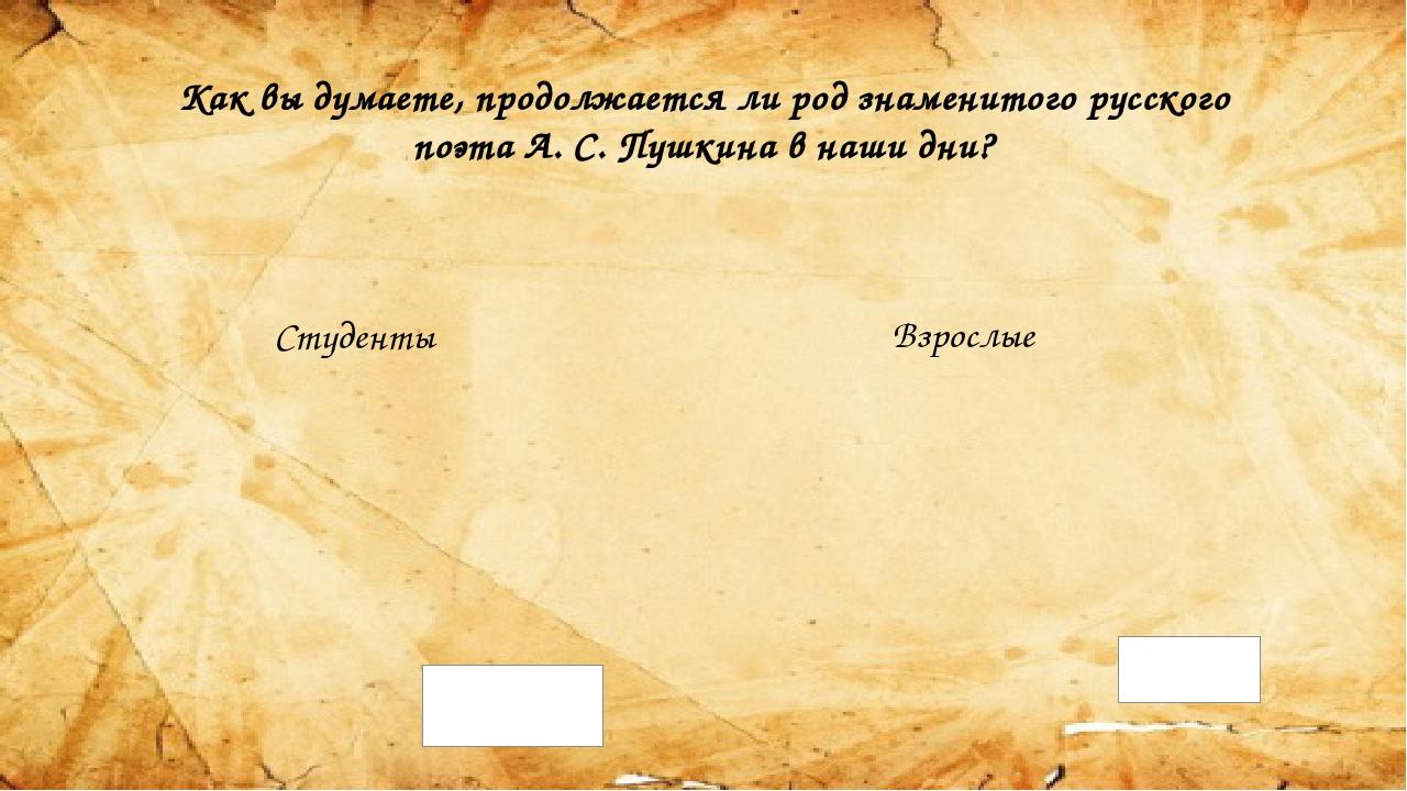 Как вы думаете, продолжается ли род знаменитого русского поэта А. С. Пушкина...