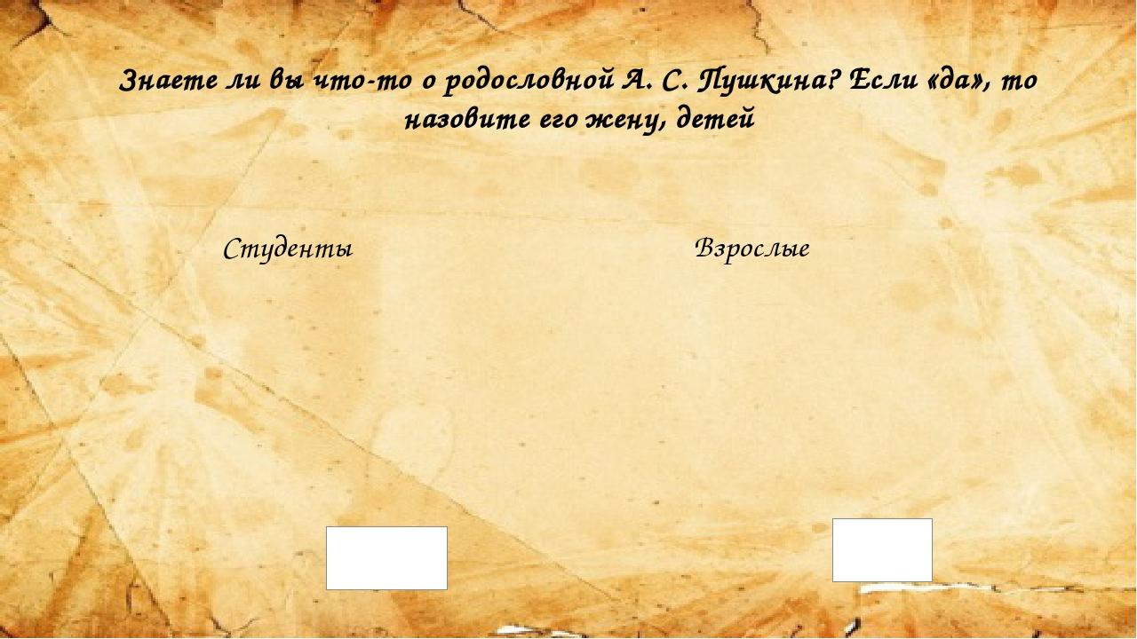 Знаете ли вы что-то о родословной А. С. Пушкина? Если «да», то назовите его ж...