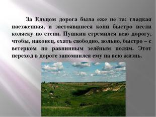 За Ельцом дорога была еже не та: гладкая наезженная, и застоявшиеся кони быс