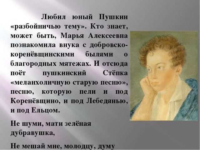 Любил юный Пушкин «разбойничью тему». Кто знает, может быть, Марья Алексеевн...
