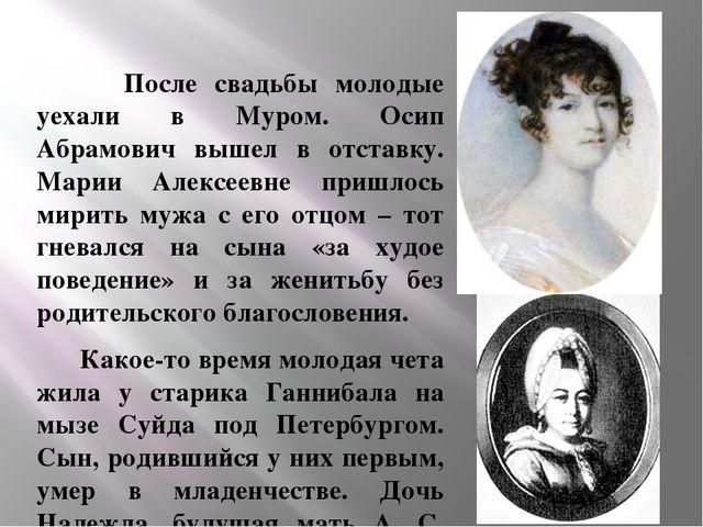 После свадьбы молодые уехали в Муром. Осип Абрамович вышел в отставку. Марии...
