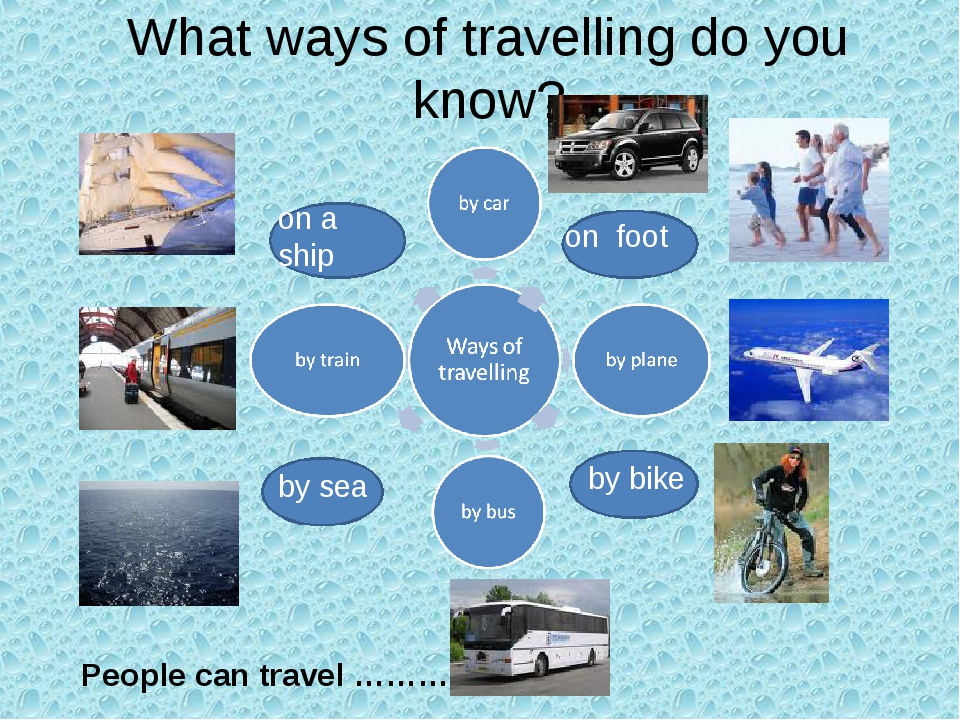 What ways of travelling do you know? by sea by bike on foot on a ship People...