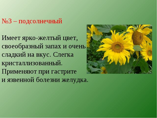 №3 – подсолнечный Имеет ярко-желтый цвет, своеобразный запах и очень сладкий...