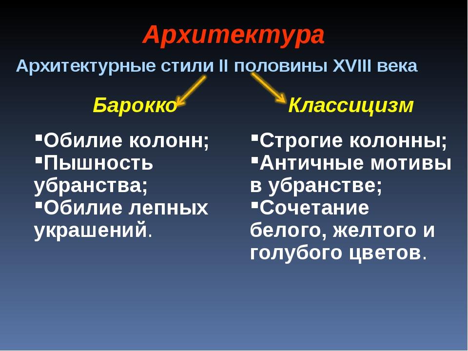 Архитектура Архитектурные стили II половины XVIII века Барокко Обилие колонн;...
