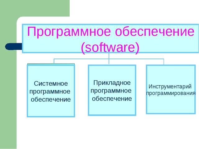 Программное обеспечение (software) Прикладное программное обеспечение Инструм...
