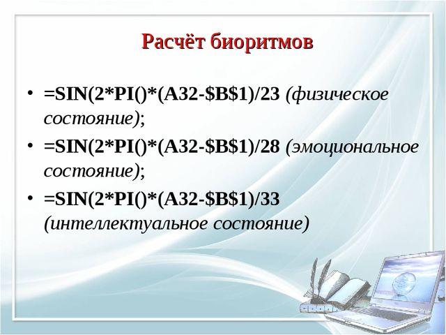 =SIN(2*PI()*(А32-$В$1)/23 (физическое состояние); =SIN(2*PI()*(А32-$В$1)/28 (...