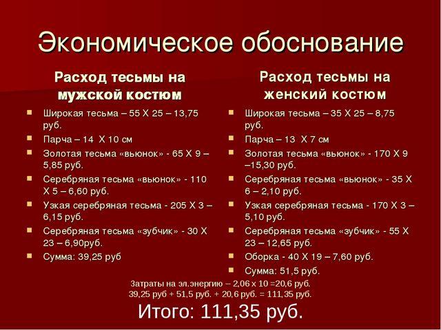 Экономическое обоснование Расход тесьмы на мужской костюм Широкая тесьма – 55...