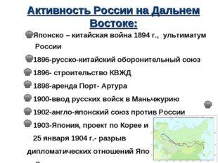 Активность России на Дальнем Востоке: Японско – китайская война 1894 г., ульт