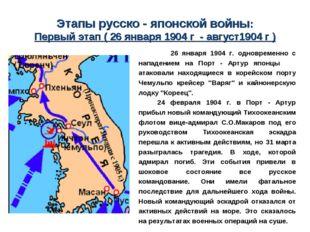 Этапы русско - японской войны: Первый этап ( 26 января 1904 г - август1904 г