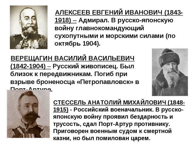 АЛЕКСЕЕВ ЕВГЕНИЙ ИВАНОВИЧ (1843-1918) – Адмирал. В русско-японскую войну глав...