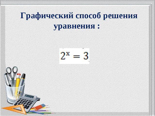 Графический способ решения уравнения :