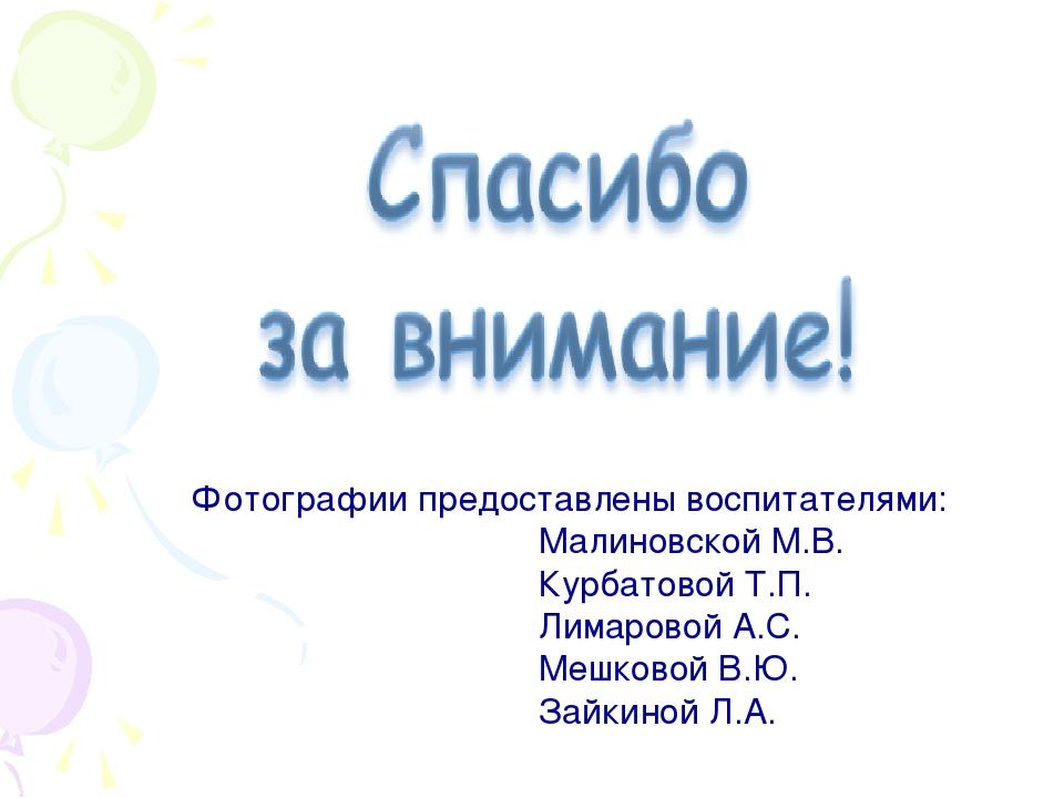 Фотографии предоставлены воспитателями: Малиновской М.В. Курбатовой Т.П. Лим...