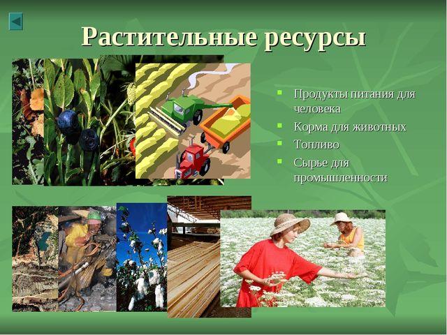 Растительные ресурсы Продукты питания для человека Корма для животных Топливо...
