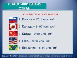 КЛАССИФИКАЦИЯ СТРАН СТРАНЫ – ГИГАНТЫ ПО ПЛОЩАДИ 1. Россия – 17, 1 млн. км2 2.