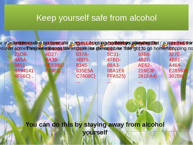 Keep yourself safe from alcohol You can do this by staying away from alcohol...