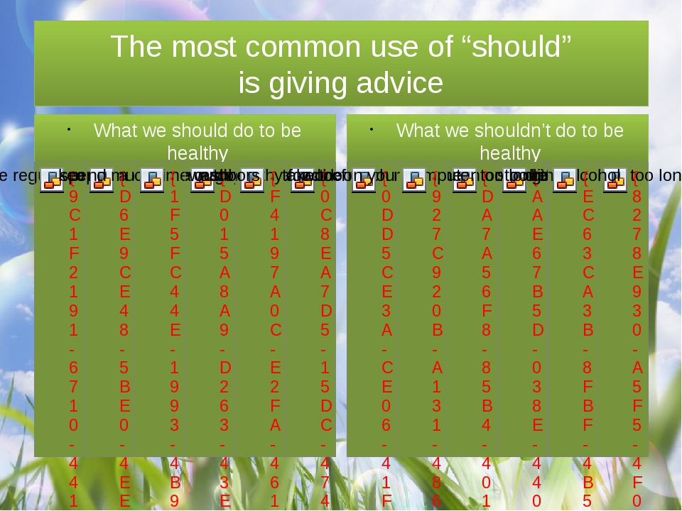 """The most common use of """"should"""" is giving advice What we should do to be hea..."""