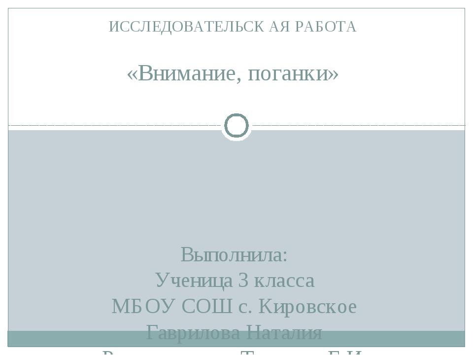 Выполнила: Ученица 3 класса МБОУ СОШ с. Кировское Гаврилова Наталия Руководит...
