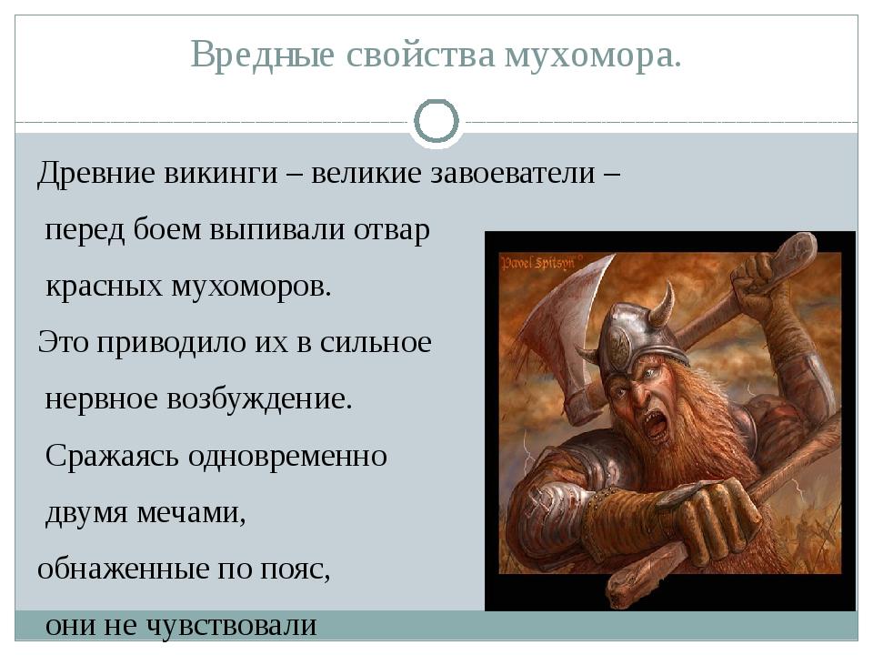 Вредные свойства мухомора. Древние викинги – великие завоеватели – перед боем...