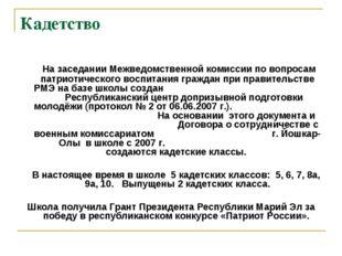 Кадетство На заседании Межведомственной комиссии по вопросам патриотического