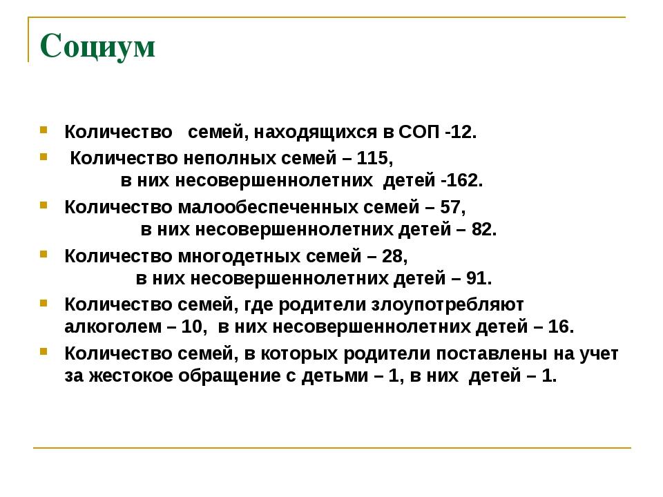 Социум Количество семей, находящихся в СОП -12. Количество неполных семей – 1...
