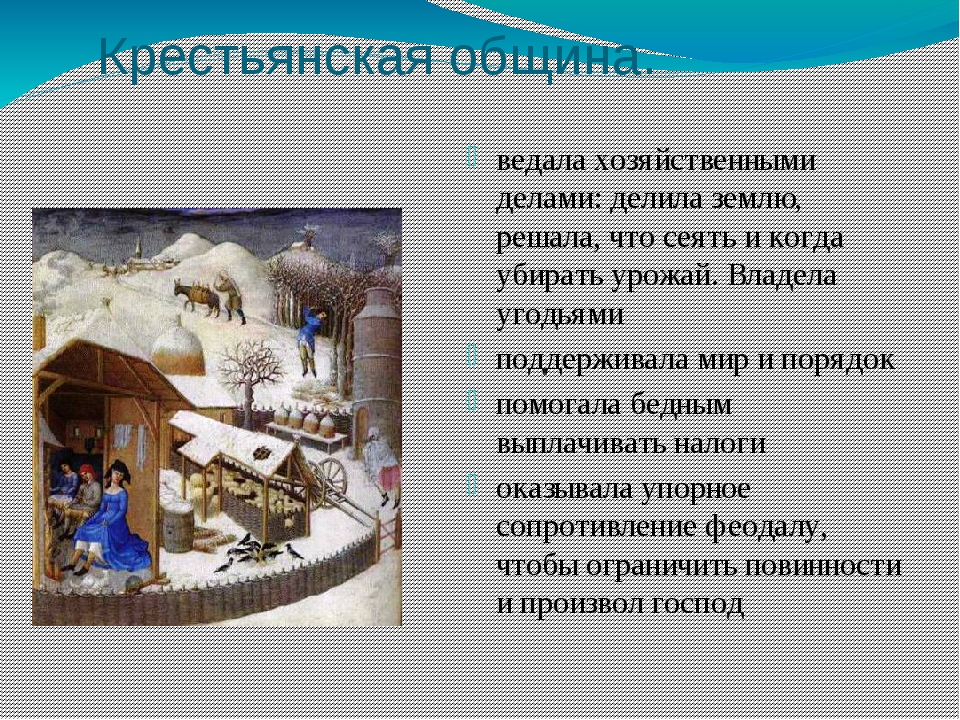 Крестьянская община. ведала хозяйственными делами: делила землю, решала, что...