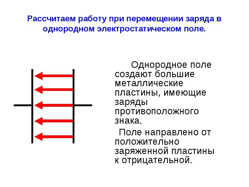 Рассчитаем работу при перемещении заряда в однородном электростатическом поле...