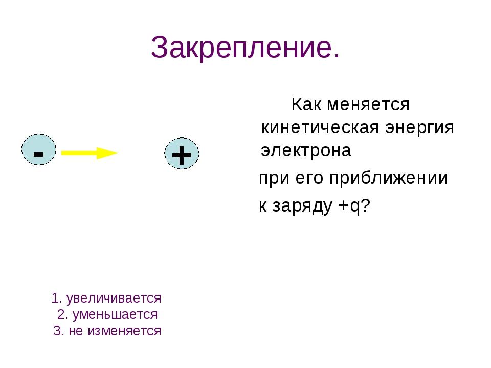 Закрепление. Как меняется кинетическая энергия электрона при его приближении...