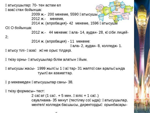 Қатысушылар: 70- тен астам ел Қазақстан бойынша: 2009 ж.- 200 мекеме, 5590 қа...