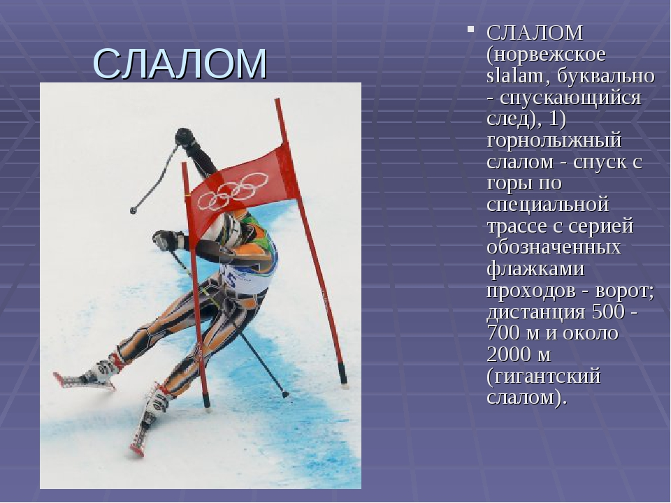 СЛАЛОМ СЛАЛОМ (норвежское slalam, буквально - спускающийся след), 1) горнолыж...