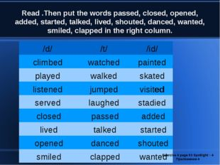 Read .Then put the words passed, closed, opened, added, started, talked, live