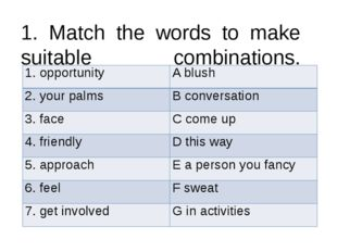 1. Match the words to make suitable combinations. 1. opportunity A blush 2. y