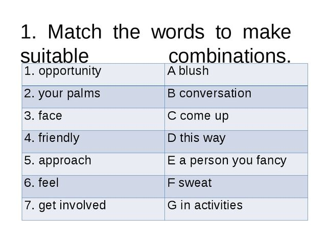 1. Match the words to make suitable combinations. 1. opportunity A blush 2. y...