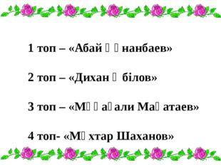 1 топ – «Абай Құнанбаев» 2 топ – «Дихан Әбілов» 3 топ – «Мұқағали Мақатаев»