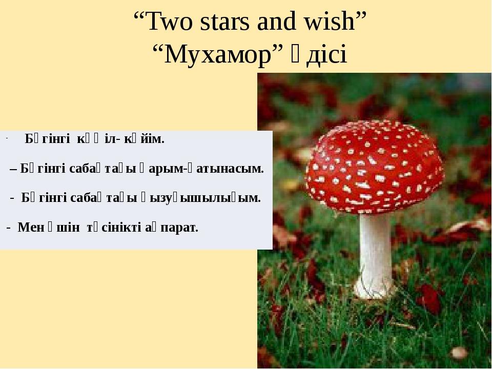 """""""Two stars and wish"""" """"Мухамор"""" әдісі Бүгінгі көңіл-күйім. – Бүгінгі сабақтағы..."""