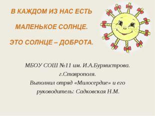 МБОУ СОШ №11 им. И.А.Бурмистрова. г.Ставрополя. Выполнил отряд «Милосердие» и