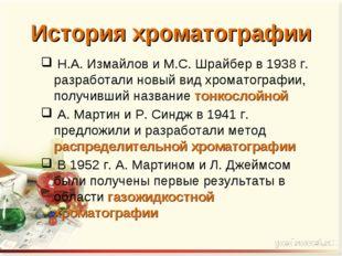 Н.А. Измайлов и М.С. Шрайбер в 1938 г. разработали новый вид хроматографии,