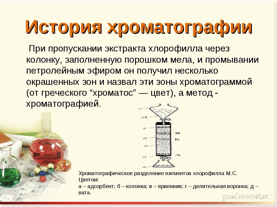 История хроматографии При пропускании экстракта хлорофилла через колонку, зап...