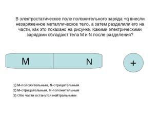 В электростатическое поле положительного заряда +q внесли незаряженное металл