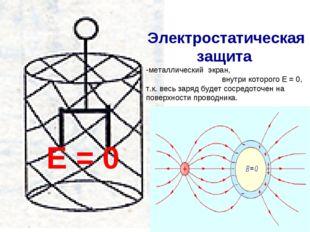 Е = 0 Электростатическая защита металлический экран, внутри которого Е = 0, т