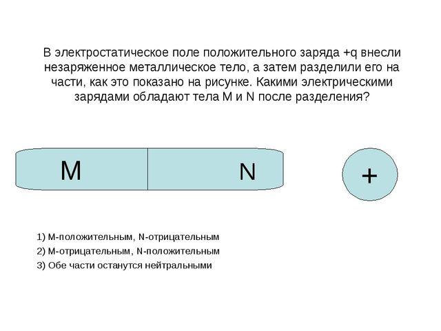 В электростатическое поле положительного заряда +q внесли незаряженное металл...
