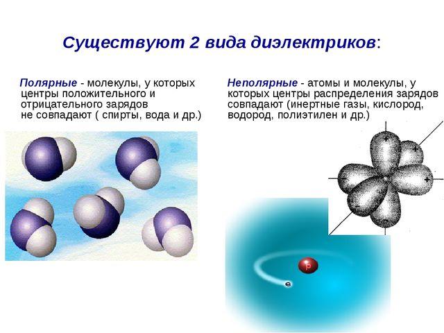 Существуют 2 вида диэлектриков: Полярные - молекулы, у которых центры положит...