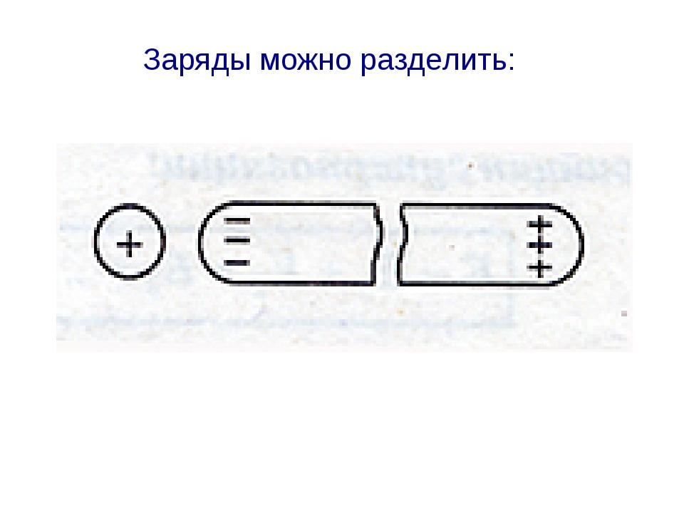 Заряды можно разделить: