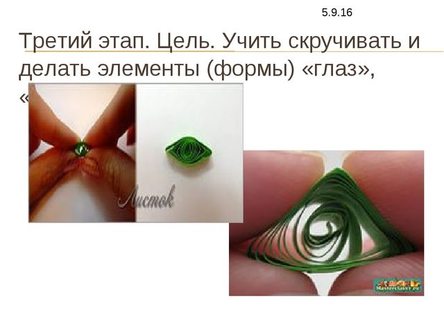 Третий этап. Цель. Учить скручивать и делать элементы (формы) «глаз», «треуго...