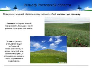 Рельеф Ростовской области Равнина – форма земной поверхности, большие, почти