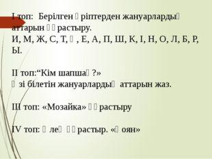 І топ: Берілген әріптерден жануарлардың аттарын құрастыру. И, М, Ж, С, Т, Қ,