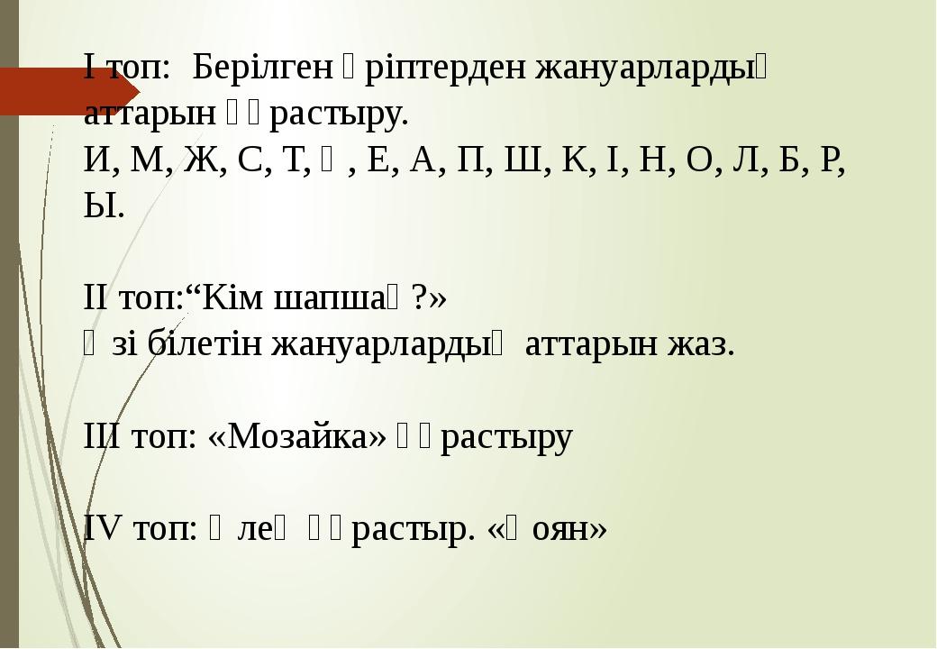І топ: Берілген әріптерден жануарлардың аттарын құрастыру. И, М, Ж, С, Т, Қ,...