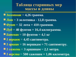 Таблица старинных мер массы и длины Золотник = 4,26 грамма. Лот = 3 золотника