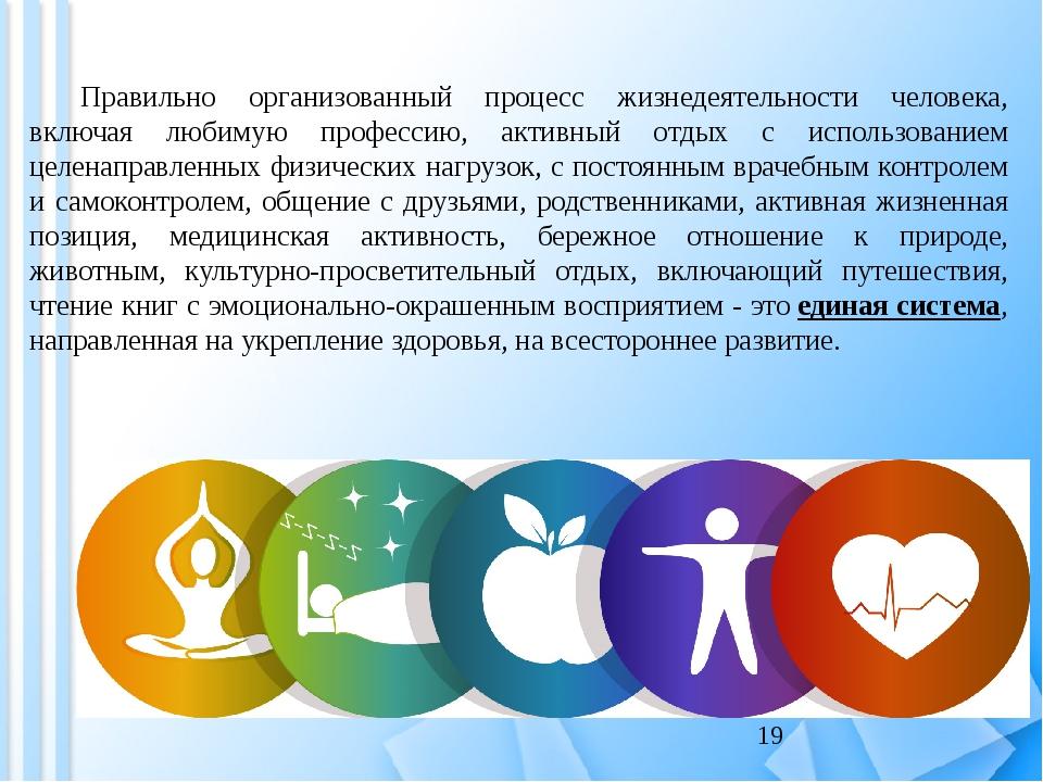 Правильно организованный процесс жизнедеятельности человека, включая любимую...