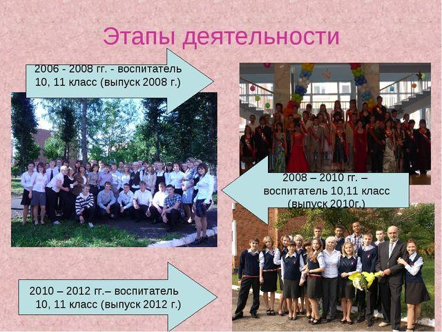 Этапы деятельности 2010 – 2012 гг.– воспитатель 10, 11 класс (выпуск 2012 г.)...