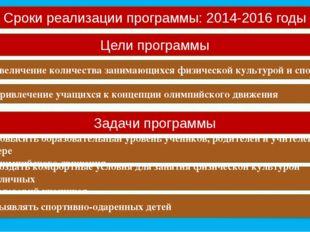 Сроки реализации программы: 2014-2016 годы Цели программы Увеличение количест